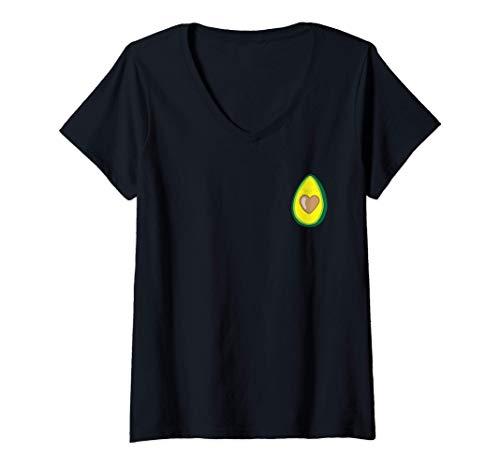 Mujer Avocado Amor - Ropa Vegana by The Dharma Store Camiseta Cuello V