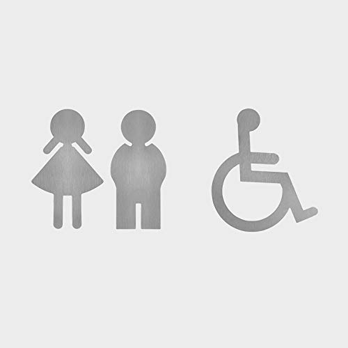 WC Trennwand Zubehör I Hochwertige WC Symbole I Material: Edelstahl I Selbstklebend (Damen)
