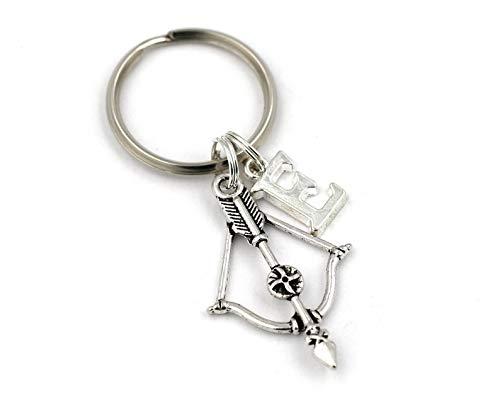 Silver Knight Llavero de arco y flecha, llavero de flecha personalizado, llavero de arco cruzado, llavero inicial, accesorios de coche, regalo para novios, Kill Zombie, bolsa de regalo