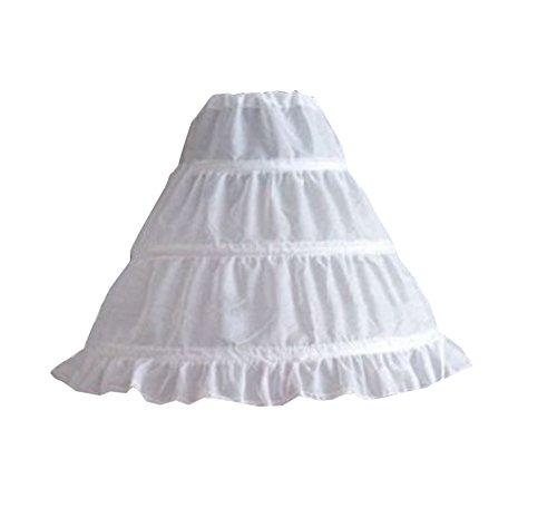 Carolilly Jupon sous Robe Fille pour Les Robes Tutu 3 Cerceau 1 Couche Blanc 5-12 Ans