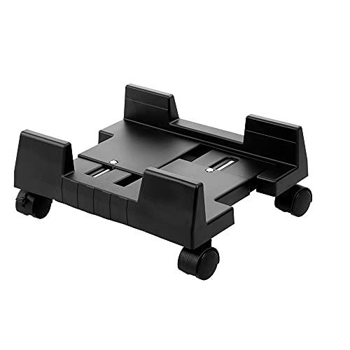 SPNEC ORDENADOR PERSONAL Caja de escritorio UPC Titular de soporte Torre de computadora Ruedas de ruedas móviles Anchorable móvil ABDOMINALES Diapositiva de plástico de la polea (Color : Black)