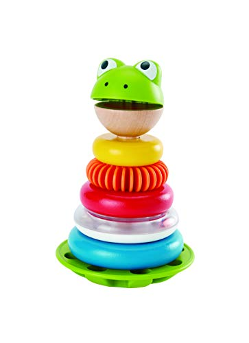 Hape Mr. Frog Stacking Rings | Multicolor Wooden Ring Stacker Play Set, Educational Toy for Children