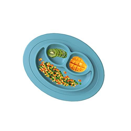 dxjsf Blue Green Silicone Cena Placa Niño Comer Set Tenedor Cuchara Cena de Niños Cena Vajilla Bebé (Color : B)