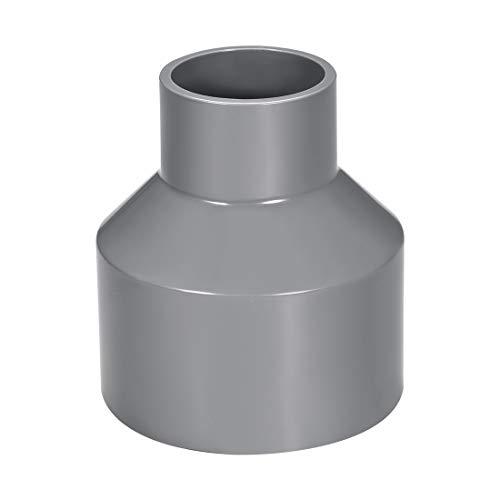 sourcing map Acoplamiento reductor de PVC de cubo por cubo de 75mm x 40mm Adaptador de tubería DWV Gris