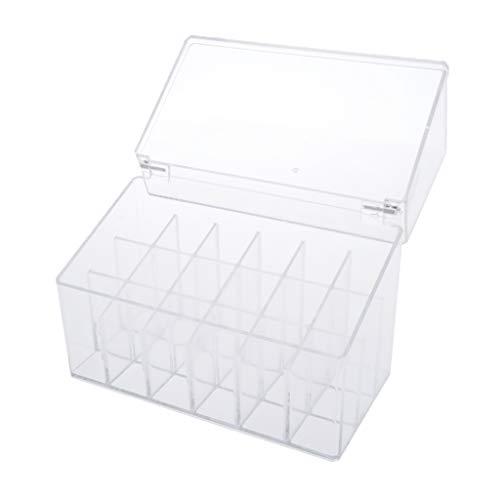 dailymall Organizador cosmético con tapa Caja de almacenamiento transparente para lápices labiales, brillo labial, esmalte de uñas, delineador de ojos, etc. - 18 espacios