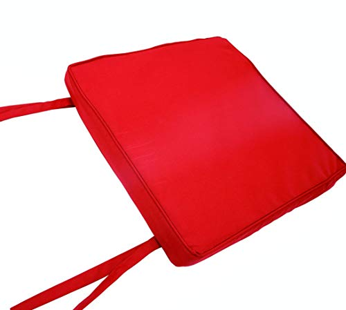 iStyleMode Waterproof (Set of 4) Chair Cushion Seat Pads Removable Cover Tie On Garden Outdoor Patio - (Pack Of 4) (40x40cm, Red)