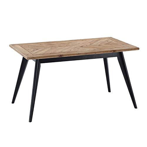 Pixie, Mesa Fija de Comedor o Salon, Acabado en Madera de Pino Reciclado y Negro, Medidas: 140 cm (Largo) x 80 cm (Ancho) x 76 cm (Alto)