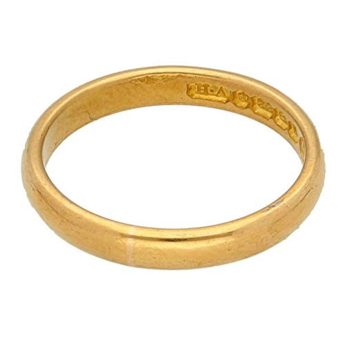 Mens Ring Band | 22Ct Yellow Gold Plain D-Shape Wedding Band (Size N 1/2) Birmingham 1953 | One of a Kind Jewellery