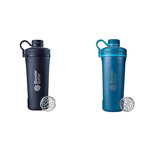 BlenderBottle Radian Insulated Stainless Steel Shaker Bottle, 26- Ounce, Matte Black & Radian Insulated Stainless Steel Shaker Bottle, 26- Ounce, Deep Blue