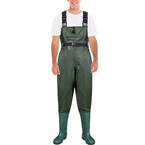 PLUSINNO Fishing Chest Waders for Men with Boots, 2-Ply Nylon/PVC Waterproof Lightweight Breathable Hunting Fly Fishing Waders with 3 Buckles for Women
