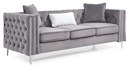 Glory Furniture Paige Sofa, Gray. Living Room Furniture 30' H x 86' W x 34' D