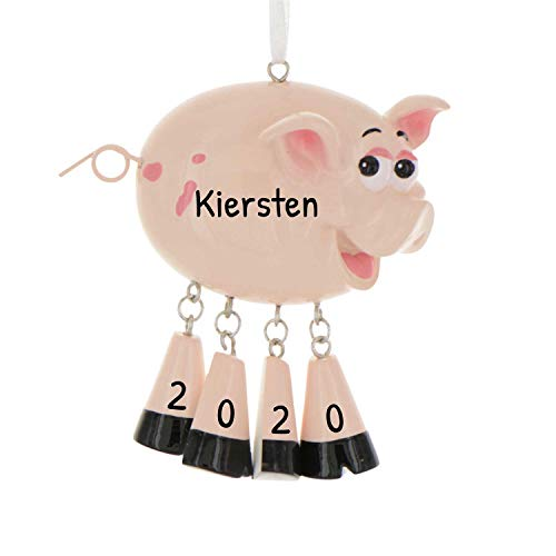 Personalized Farm Animals Christmas Tree Ornament 2020 - Cute Pink Pig Dangling Legs Farmer Collection Industry Barnyard Agriculture Meat Egg Milk Fur Leather Wool Gift Year - Free Customization