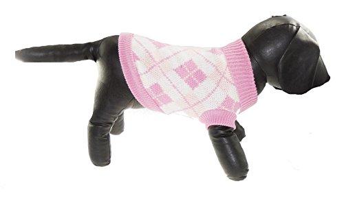 Glamour Girlz Schattige Thee Cup Speelgoed Honden Wollig Gebreide Schotse Roze Argyle Roll Neck Meisje Jongen Jumper - Verkrijgbaar in 5 maten, Eén maat, Pink & Grey