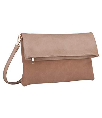 SIX Elegante bolso de fiesta: color nude plegable con aspecto de ante suave con solapa ancha y detalles metálicos rosados (463-873).