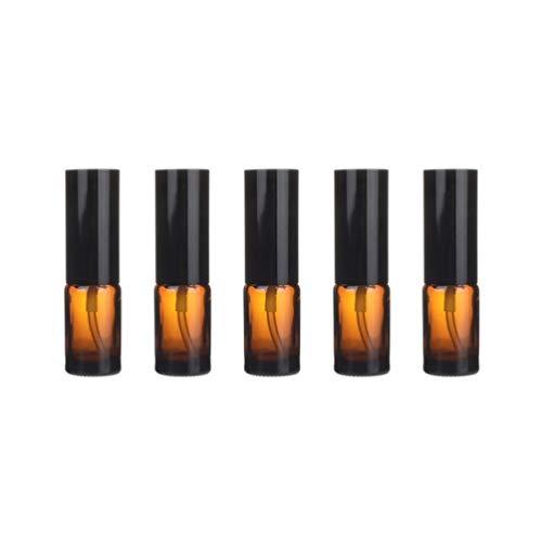 Yardwe Flacon Pulvérisateur en Verre Pack de 5 Récipients Rechargeables en Verre Ambre Flacon Vide Flacon de Sous-Emballage Liquide pour Huiles Essentielles Parfum Produits de Nettoyage (Spray 10 Ml)