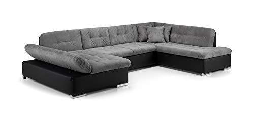 Honeypot - Sofa - Bergen - Corner - Sofa bed - Storage - Faux Leather/Fabric (Black/Grey, Right Hand Corner)