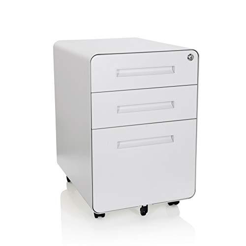 hjh OFFICE 743015 Rollcontainer Color Plus I Stahl Weiß Schubladenschrank mit Rollen, A4 Hängeregister, abschließbar