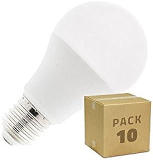 Pack 10 Bombillas LED E27 A60 10W Blanco Cálido 2800K-3200K efectoLED
