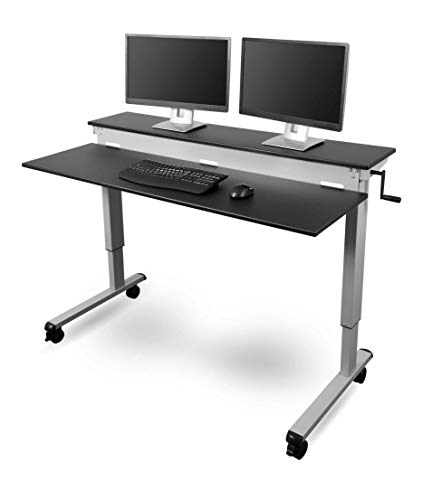 Stand Up Desk Store Crank Adjustable Sit to Stand Up Computer Desk – Heavy Duty Steel Frame, 60 Inches, Silver Frame/Black Top