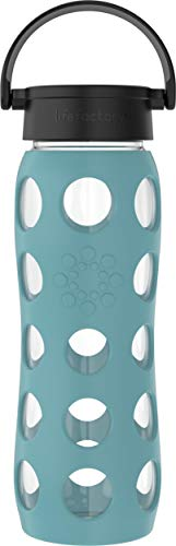 Lifefactory 18214 - Botella de cristal con funda protectora de silicona, sin BPA, antigoteo, apto para lavavajillas, 650 ml, color azul