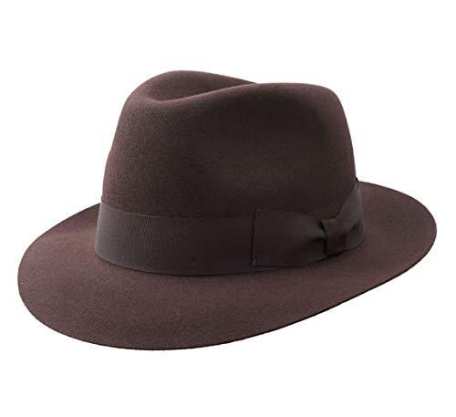 Classic Italy - Chapeau Fedora imperméable Feutre - 5 Coloris - Homme ou Femme Heritage Bogart - Taille L - Marron