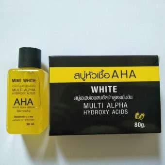 Set: Super AHA Whitening body Serum MIMI Serum body serum so fast bleaching brightening skin 30ml.& Mimi White AHA Soap 80g.
