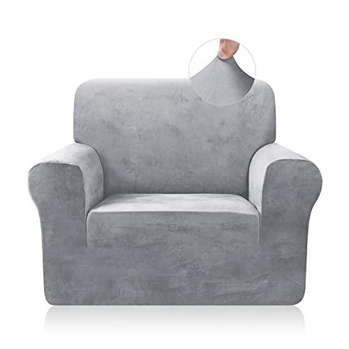 TAOCOCO Funda de sofá Funda de sofá de Terciopelo Mantas de sofá Funda de sofá elástica Fundas de sofá para Sala de Estar (Gris Claro, 1 Plaza)