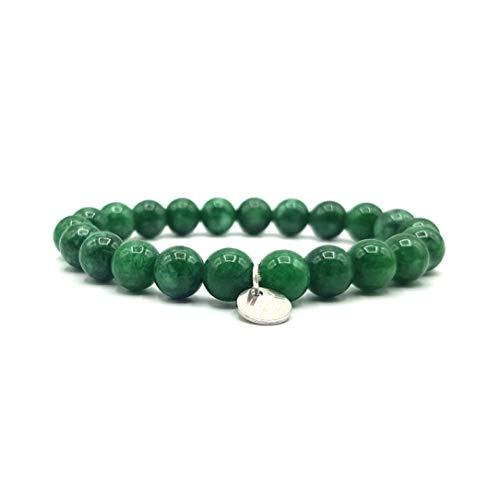 KARDINAL WEIST jade pulsera, cuentas de piedras preciosas, joyas para hombres y mujeres, chakra - felicidad - salud - yin yang (S - verde oscuro un solo brazalete)