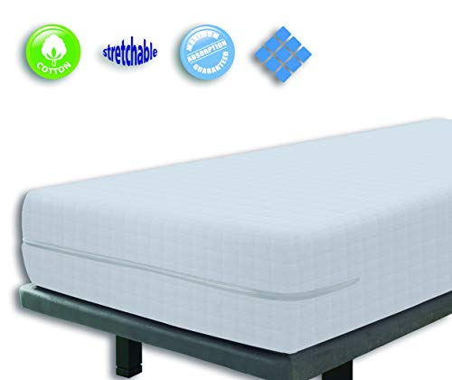 Velfont White Elastic Zipped Terry Towelling Fully Enclosed Mattress Cover/Mattress Encasement, with a chequered design. European Double Size 140x190/200