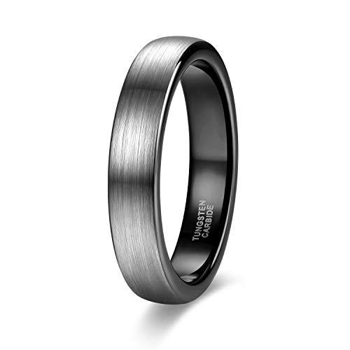 Zakk Ring Herren Damen 4mm Wolfram Verlobungsring Trauringe Ehering Partnerringe Gebürstet Schwarz Blau Größe 47 bis 69 (Schwarz,61 (19.4))