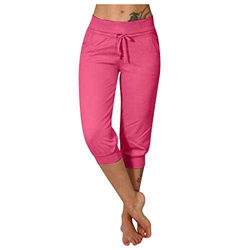 Vectry Damen Caprihose 3/4 Hose Jogginghose Sweatpants Workout Fitness Sportshorts Laufshorts Yogahosen Loose Fit Kordelzug Taille Freizeithose mit Seitentaschen(Pink,XL)