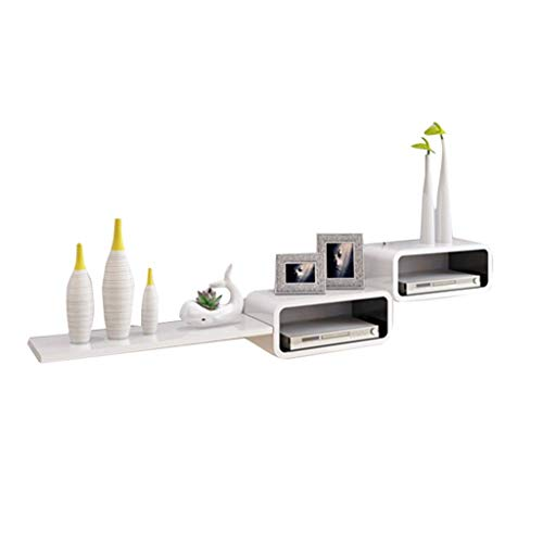 Lefran Tabletttisch TV-Eckmöbel Eckvitrinen Für Wohnzimmer Eckwandregal Hintergrundwandwandschrank Schlafzimmer Dekorrahmen 20kg (Color : Weiß, Size : 140cm*30cm*20cm)
