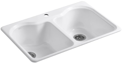Cheapest Prices! KOHLER K-5818-1-0 Hartland Self-Rimming Kitchen Sink with Single-Hole Faucet Drilli...