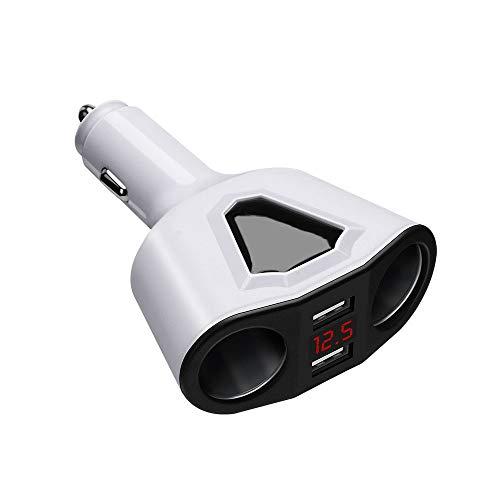 Cargador De Coche Multifunción con Pantalla Digital USB Dual, Encendedor De Cigarrillos Dual para Automóvil Compatible con iPhone iPad Huawei Samsung Cámara GPS,Blanco