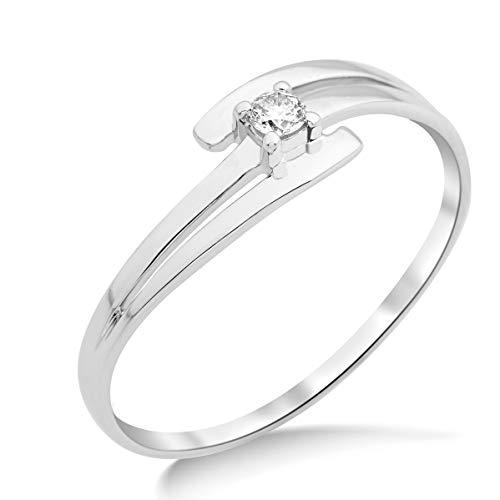 Miore Ring Damen Solitär Diamant Verlobungsring Weißgold 9 Karat / 375 Gold Diamant Brillant 0.05 Ct, Schmuck
