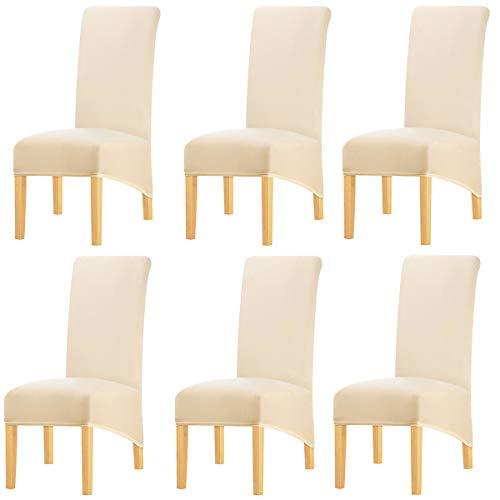 KELUINA Feste Gewebe-Ausdehnung XL-Stuhlhussen der hohen Rückseite für Esszimmer, Spandex-große Esszimmerstuhl-Schonbezüge für Hauptlebensrestaurant-Hotel (Cream Color,Set of 6)
