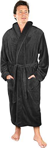 NY Threads Luxurious Men's Shawl Collar Fleece Bathrobe Spa Robe (Grey, Large/X-Large)