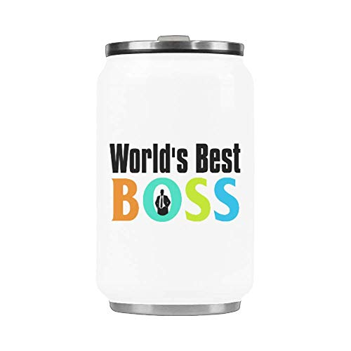 WECE 10.3 Oz Portable Coffee Mug With Straw Stainless Steel Vacuum Cup Thermos Boss Gift - World's Best Boss Mug Travel Watter Bottle