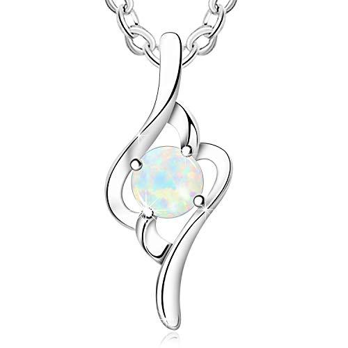 KristLand - Moonlight Kette Damen,Damenschmuck- Leuchtend Erstellt Weißer Opal Anhänger aus Sterlingsilber mit Anhänger Kurven Element Halskette,Geschenk für Frauen/Mädchen/Hochzeiten/Party Weiß Opal