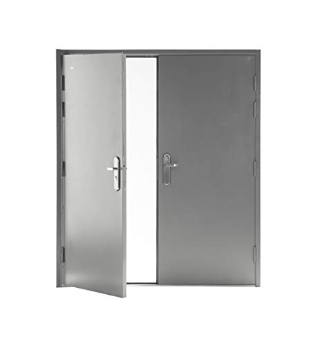 VIZ-PRO Quick Mount Double Steel Security Door with Frame and Hardware, Gray Right Side-Active Leaf Inward, 32 1/4
