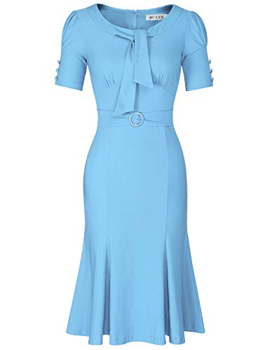 MUXXN Lady Elegant Ruched Tie Collar Fitted Slim Vintage Office Business Pencil Dress (Airy Blue XXL)