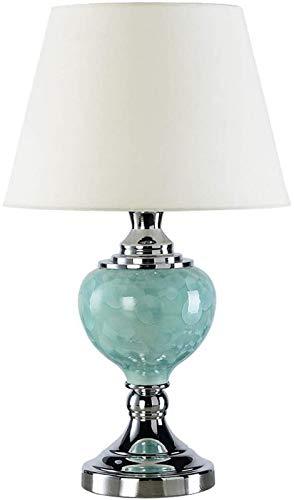 Luz de lectura Lámpara de mesa de cerámica esmaltada con cristal verde esmeralda y pantalla de tambor de tela blanca Elegante dormitorio Sala de estar Estudio Iluminación Lámpara de escritorio