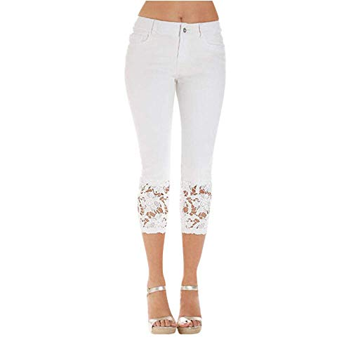 JOFOW Pants Womens Denim Patchwork Lace Jeans Pecil Straight Capri Leggings Distressed Skinny Casual High Waist Crop Trousers