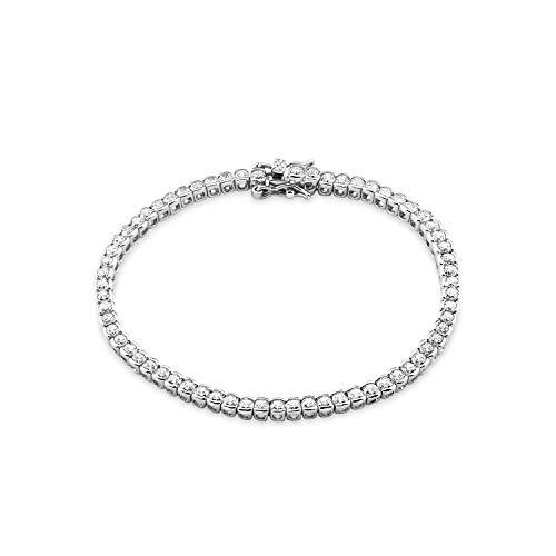 amor Tennisarmband für Damen 18,5 cm, 925 Silber rhodiniert Zirkonia weiß