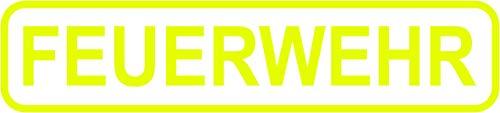 + Neon gele brandweer - sticker - sticker met lijst / 20 cm x 4,5 cm