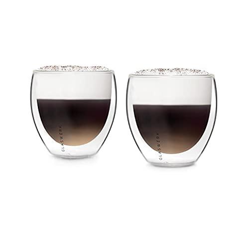 GLASWERK Design Cappuccino Tassen (2 x 230ml) - doppelwandige Kaffeegläser aus Borosilikatglas - spülmaschinenfeste Cappuccino Gläser