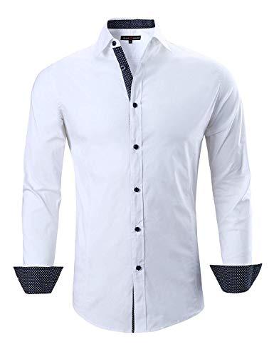 Joey CV Mens Casual Button Down Shirts Long Sleeve Regular Fit Men Shirt(White,Large)