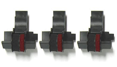 (3 Pack) COMPUMATIC Compatible/Replacement Calculator Ink Roller Black/Red IR-40T for Sharp EL-1750V, EL-1801V and More