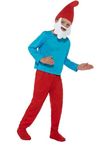 Funidelia   Disfraz de Papá Pitufo Oficial para niño Talla 7-9 años ▶ The Smurfs, Dibujos Animados, Los Pitufos, Enanito - Color: Rojo - Licencia: 100% Oficial