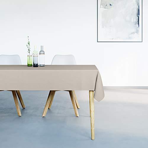 Mistral Home Mantel Antimanchas Rectangular Beige – 150 x 250 cm – Mantel de Mesa Combinación de Algodón y Poliéster – Lavable en Lavadora – Protección Moderna para su Mesa